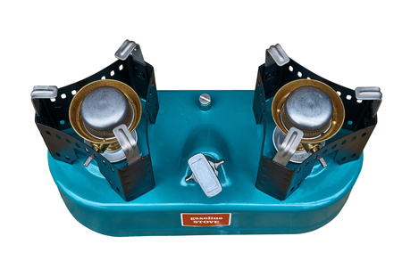 Two-burner primus stove isolated on white background. Primus turquoise