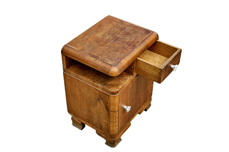 Vintage nightstand with drawer isolated on white background. Bedroom furniture