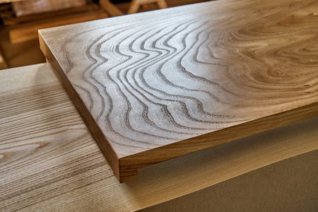 Woodworking and carpentry production. Slab table top of elm. Furniture manufacture Reklamní fotografie