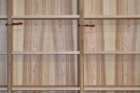 Ash Bookshelves With Clamps Woodworking And Carpentry Production