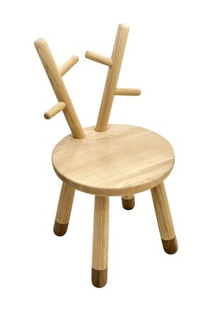 New creative small chair for kids made of solid ash and walnut tree on a white background. Wooden furniture