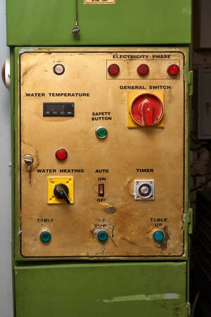 Hydraulic press control panel. Old hydraulic press in furniture manufacturing. Close-up