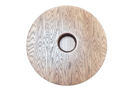 Wooden coffee table in shape of circle being on white background