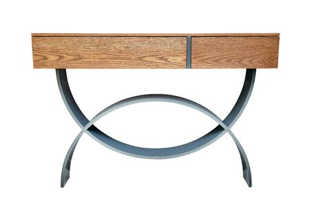 Wooden console table with gray lacquered curved legs isolated on white