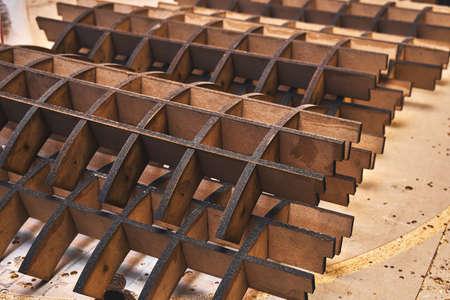 Joinery. MDF frames for bending plywood in workshop. Bend furniture manufacture Banco de Imagens