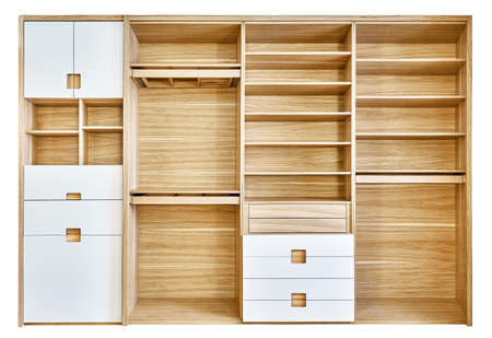 Modern wardrobe with empty shelves isolated on white background. Modern wooden wardrobe with flat finger pull wardrobe doors. Oak veneered plywood cabinets with light gray painted cabinet doors