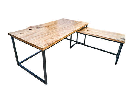 Live edge elm gaming desk countertop with metal base on white background