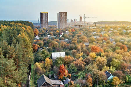 Contemporary highrise city dwelling buildings annex territory of neat summer cottages among colorful autumn trees at sunset 版權商用圖片