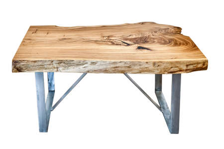 Modern live edge elm slab coffee table with inner knot in bizarre pattern shape and tree rings. Table top on metal support isolated on white background