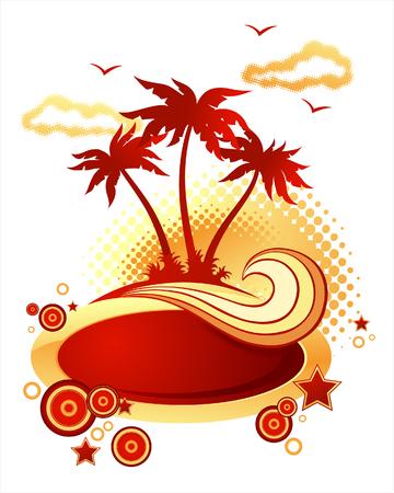 Palm Island. Wave e banner Archivio Fotografico - 1728816