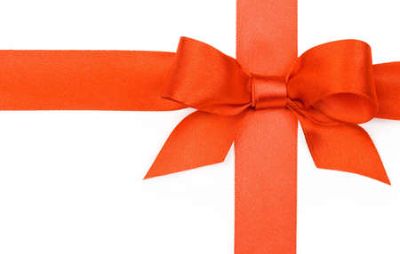 Beautiful red bow on white background Stock Photo - 6090006