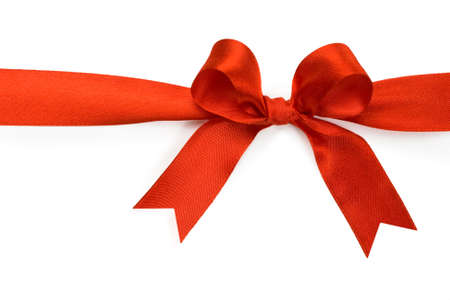 Beautiful red bow on white background Stock Photo - 6090079