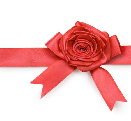Beautiful red bow and rose on white background Stock Photo - 6090097