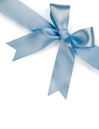 Beautiful blue bow on white background Stock Photo