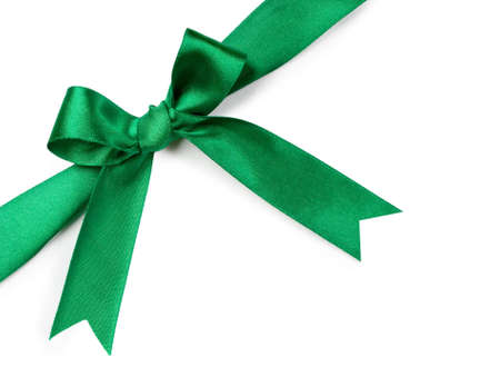 Beautiful green bow on white background Stock Photo - 6090000