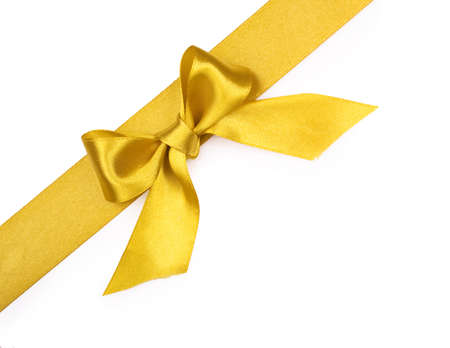 silk bow: Beautiful gold bow on white background