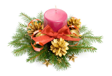 Candle balls and ribbon in spruce branches photo