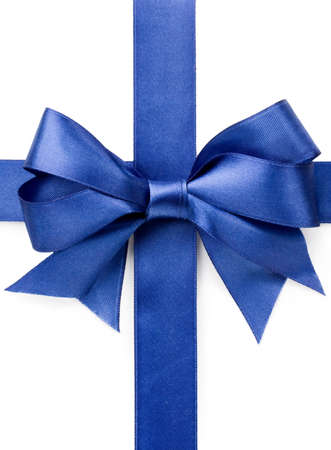 Beautiful blue bow on white background photo