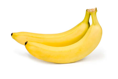 Two ripe banana on white background photo