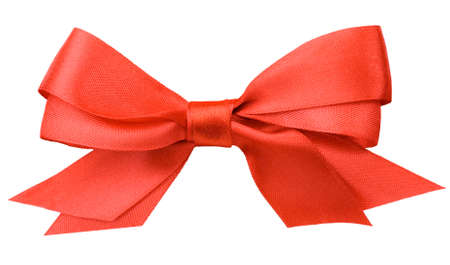 Beautiful red bow on white background photo