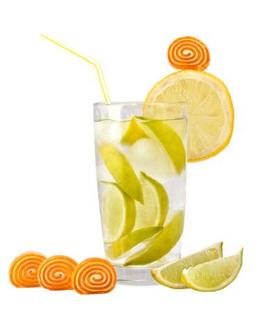 sweetmeats: Lemonade candy and lemon on a white background