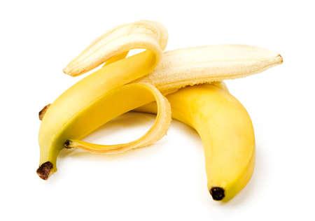 banana peel: Two ripe banana on white background Stock Photo