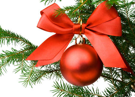 evergreen wreaths: Christmas pine branch with a red ball and ribbon