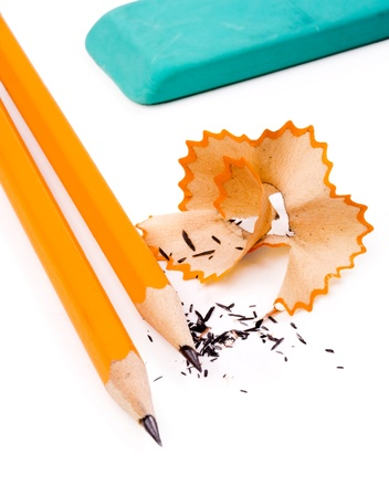 sharpenings: Pencil on white background