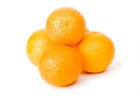 Sinaasappelen op een witte achtergrond Stockfoto