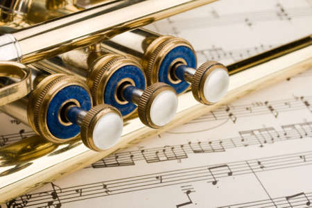 jazzy: Music instrument on background of the notes Stock Photo