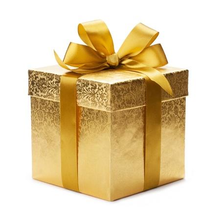 Geschenk doos en gouden lint geïsoleerd op witte achtergrond