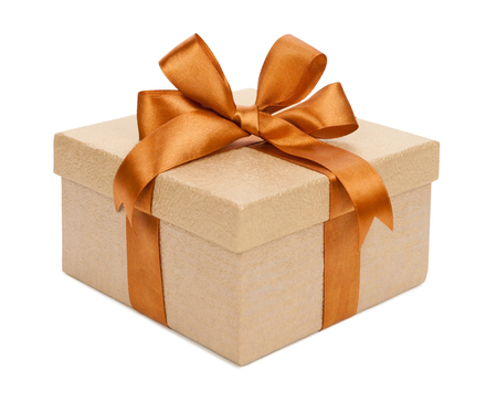 Gift box with gifts and brown bow. Фото со стока