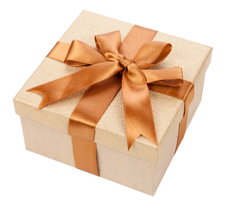 Broun box with gifts and bow isolated on white background. Фото со стока