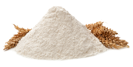 Flour and ears isolated on white background