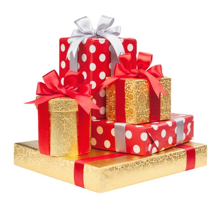 Red anRed and striped and gold boxes with gifts tied bows on white background d striped and gold boxes with gifts tied bows on white background