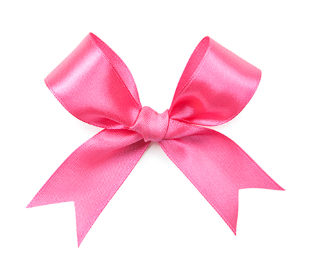 pink color bow isolated on white background