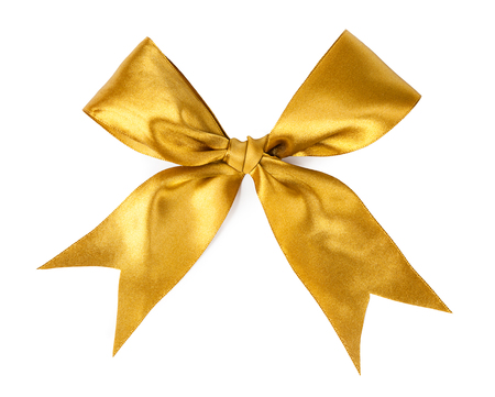 Gold ribbons with bow isolated on white background