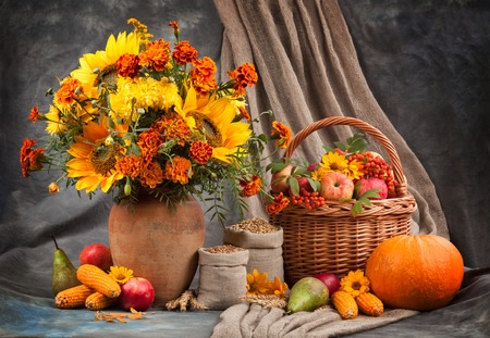 Autumn still life. Flower, fruit and vegetables. Stock Photo - 36999525