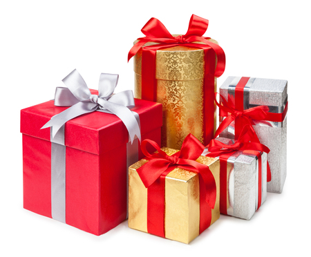 Gold, silver and red gift boxes on white background Фото со стока - 36999528