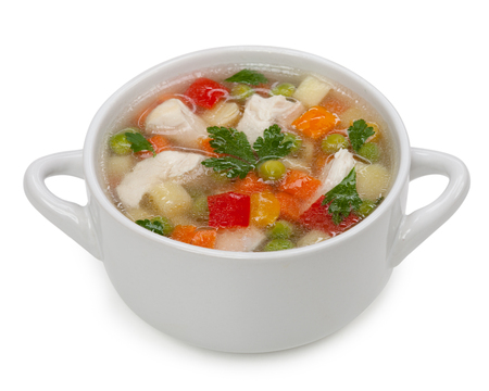 Chicken noodle soup isolated on a white background Foto de archivo