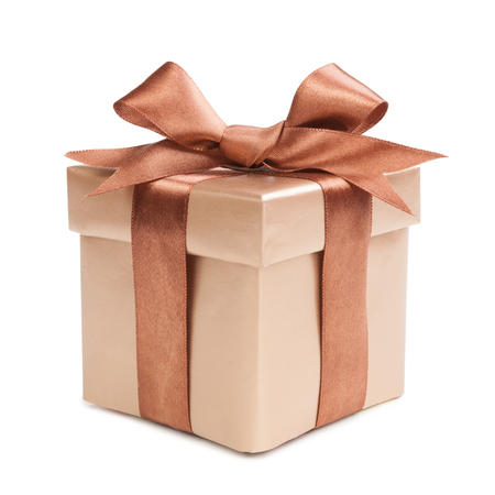 box with christmas gifts and brown bow