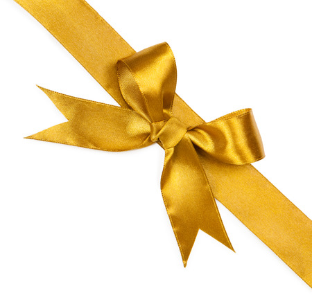 Gold ribbons with bow isolated on white background Фото со стока - 36999434