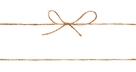 Rope and bow isolated on white background