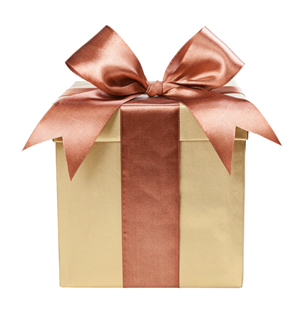 Gold box with gifts and brown bow Фото со стока - 36999387