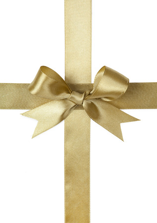 Gold ribbon with bow isolated on white Фото со стока