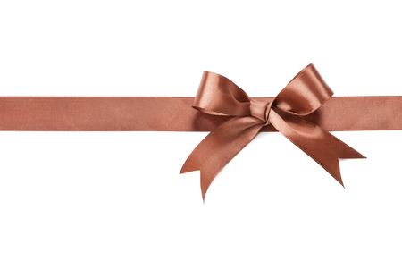 Brown bow and ribbon isolated on white background.
