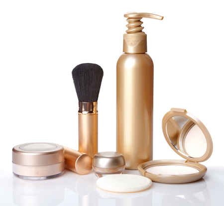 Brush for make-up, powder and cosmetics isolated.