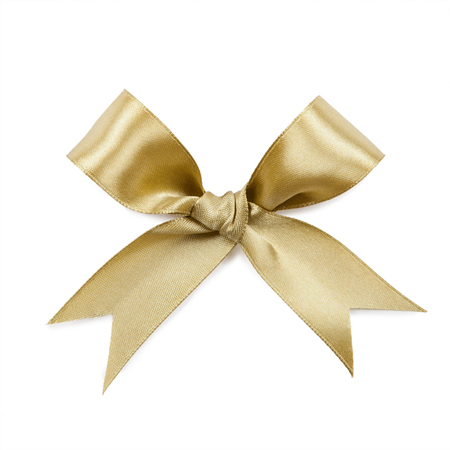 Gold bow isolated on white background.