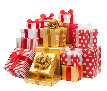 Gift boxes on white background.