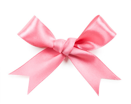 Pink bow isolated on white background